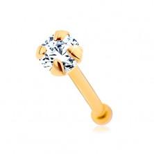 Piercing za nos iz 14-k zlata, raven – sijoč cirkon prozorne barve, 1,5 mm