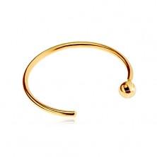Piercing za nos iz 14-k rumenega zlata – sijoč krog se konča s kroglico