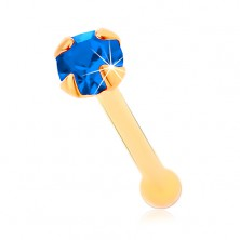 Piercing za nos iz rumenega 14K zlata - droben cirkon temno modre barve, 1,5 mm
