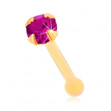 Raven piercing za nos iz rumenega 14K zlata - cirkon v barvi fuksije, 1,5 mm
