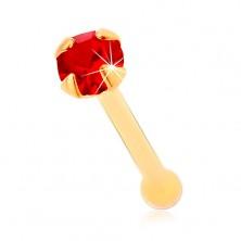 Piercing za nos iz rumenega 14K zlata, raven - okrogel lesketav rdeč cirkon, 1,5 mm