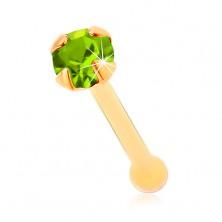 Piercing za nos iz rumenega 14K zlata - svetlo zelen lesketav cirkon, 1,5 mm