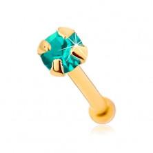 Piercing za nos iz 9-k zlata, raven – lesketav modro-zelen cirkon, 1,5 mm
