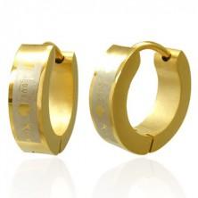 Zlati uhani iz kirurškega jekla - Love Kiss
