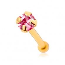 Piercing za nos iz zlata 375, raven - lesketav cirkon rožnate barve, 1,5 mm