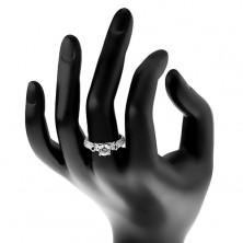 Zaročni prstan, srebro 925, lesketava kraka z izboklinami, prozoren cirkon