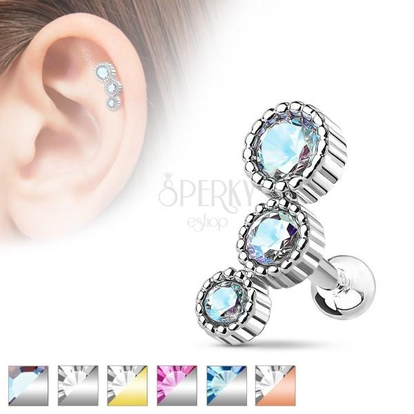 Jeklen piercing za ušesni hrustanec, trije okrogli barvni cirkoni