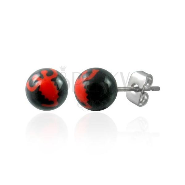 Uhani s črno kroglico - rdeč škorpijon