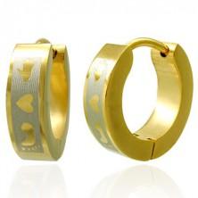 Jekleni uhani zlate barve - stopalo, srce, roka