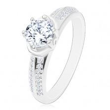 Zaročni prstan – srebro 925, bleščeč okrogel cirkon, loki, sijoča kraka