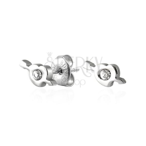 Uhani iz kirurškega jekla - srce z Amorjevo puščico in cirkonom
