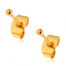 Jekleni uhani zlate barve s čepki, sijoči kroglici, 2 mm