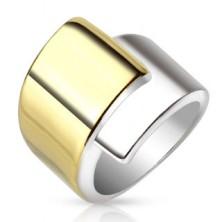 Jeklen prstan, široka prekrivajoča se kraka zlate in srebrne barve