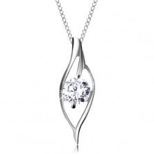 Ogrlica iz srebra 925, nesimetričen obris v obliki zrna z bleščečim prozornim cirkonom