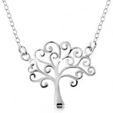 Ogrlica iz srebra 925, tanka verižica in obesek – sijoče drevo življenja