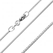 Verižica iz srebra 925, gosto povezani sijoči oglati členi, 1,1 mm