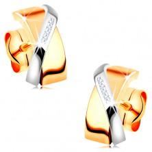 Dvobarvni uhani iz 14-k zlata – prekrivajoča se loka, prozorni cirkoni