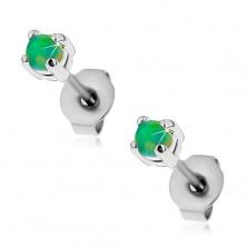 Jekleni uhani s čepki, okrogel umeten opal zelene barve, 3 mm
