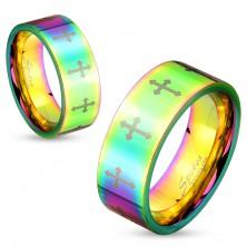 Barven jeklen prstan s sijočo površino in križi srebrne barve, 6 mm