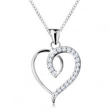 Ogrlica iz srebra 925, obris nesimetričnega srca, lesketajoča se polovička