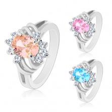 Svetleč prstan srebrne barve, velik barven oval, tanki loki in prozorni cirkoni