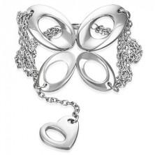 Verižna jeklena zapestnica - metulj in srce