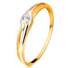 Diamantni prstan iz 14-k zlata, dvobarvna kraka z izrezi, prozoren briljant