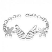 Jeklena zapestnica z angelskimi krili, rožici