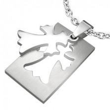 Obesek iz nerjavečega jekla - križ v obliki stilizirane lilije