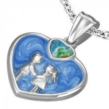 Obesek iz nerjavečega jekla v obliki modrega emajliranega srca
