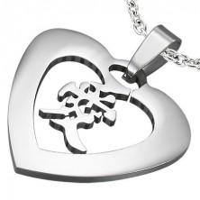 Jeklen obesek srebrne barve – srce s kitajskim znakom za ljubezen