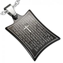Obesek iz nerjavečega jekla - molitev in križ