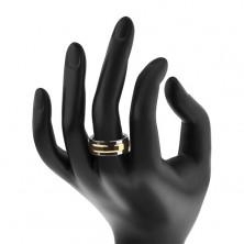 Prstan iz volframa, srebrne in zlate barve, vrtljiv sredinski pas s kvadrati, 8 mm