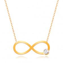 Ogrlica iz 9-k rumenega zlata – sijoč simbol neskončnosti s prozornim cirkonom, verižica