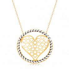 Ogrlica iz 9-k zlata – verižica iz ovalnih členov, srce z izrezi v krogu