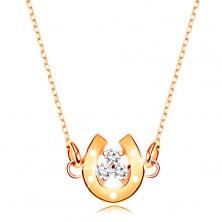 Ogrlica iz 9-k rumenega zlata – majhna konjska podkev s cirkoni, fina verižica