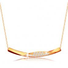9-k zlata ogrlica - verižica iz ovalnih členov, sijoča ukrivljena linija s cirkoni