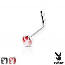 Ukrivljen piercing za nos, jeklo 316 L, barven krog s Playboyevim zajčkom