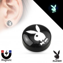 Akrilna imitacija magnetnega vstavka – črn krog s sličico Playboyevega zajčka