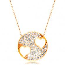 Ogrlica iz 9-k rumenega zlata – lesketav krog s srcema, verižica iz ovalnih členov