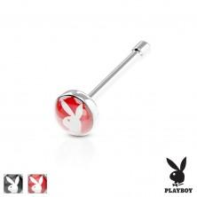 Raven piercing za nos, jeklo 316 L, barven krog s Playboyevim zajčkom