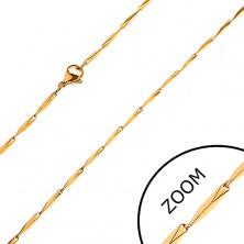 Verižica iz jekla 316 L, prirezani oglati členi zlate barve, 1,5 mm