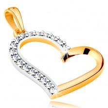 Obesek iz 14-k zlata – obris nesimetričnega srca s cirkonsko polovičko