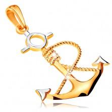 Obesek iz kombinacije 14-k zlata – sidro z zavito vrvjo