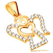 Obesek iz 14-k rumenega zlata – obris angela s cirkoni, sijoče srce