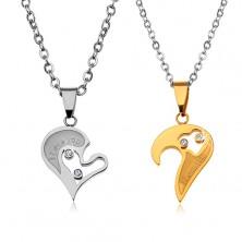Komplet ogrlic iz jekla 316 L za ljubimce, srčasta obeska, prozorni cirkoni
