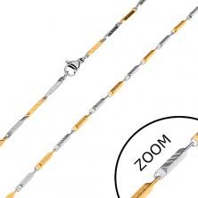 Dvobarvna verižica iz kirurškega jekla, ozke prirezane prizme z zarezami, 2 mm
