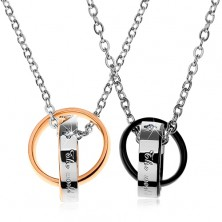 Jekleni ogrlici, dvobarvna povezana obročka, napisa, cirkoni