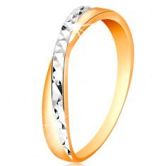 Dvobarven prstan iz 14-k zlata - razcepljena kraka, drobne svetleče zareze