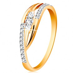 14-k zlati prstan - sijoča ukrivljena kraka, lesketavi pasovi in trije cirkoni
